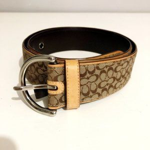 COACH Brown and British Tan Leather Jaquard Belt S